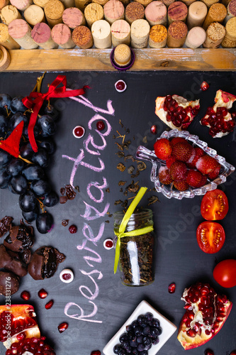 Antioxidants Rich Food Contains Resveratrol Decorated With Wine Corks Buy This Stock Photo And Explore Similar Images At Adobe Stock Adobe Stock