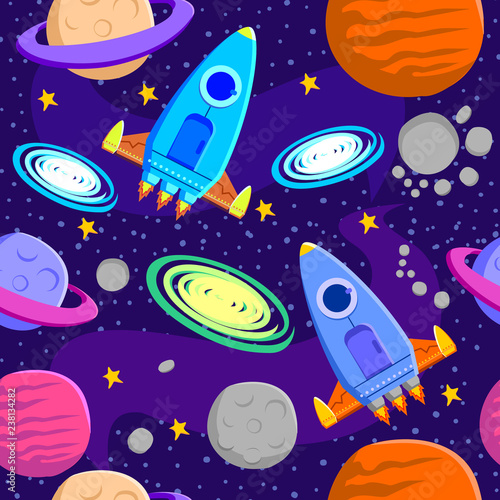 Space Galaxy Consist Of Rocket Planets Moon Asteroid