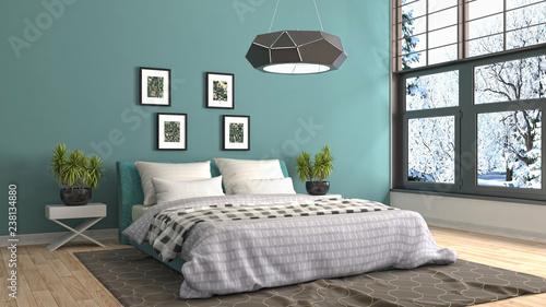 Photo  Bedroom interior. 3d illustration