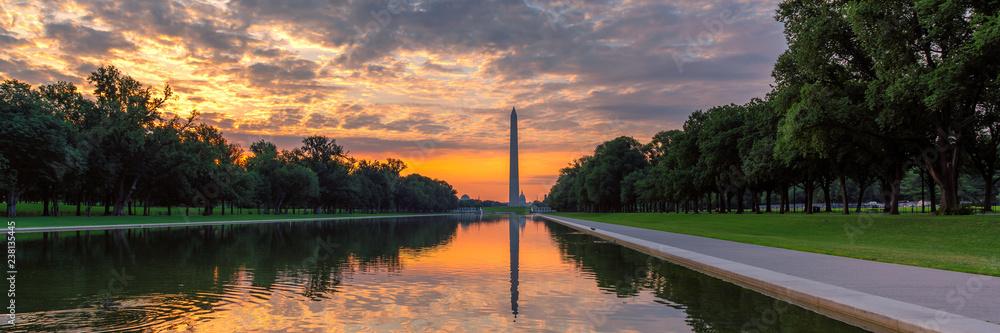 Fototapety, obrazy: Panoramic sunrise at Washington Monument, Washington DC, USA