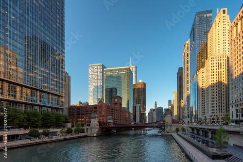 Aluminium Prints Chicago Chicago Skyline at summer sunset, Chicago, Illinois.