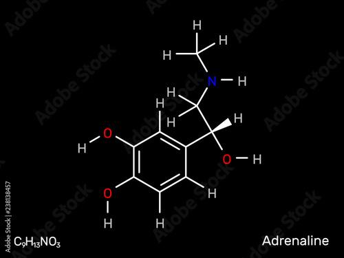 Fotografie, Obraz  Adrenaline neurotransmitter structural formula