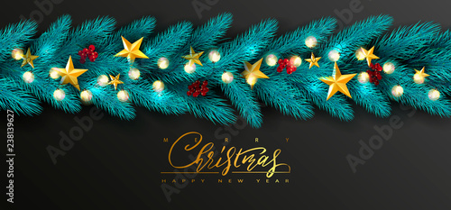Fototapeta Merry Christmas and Happy New Year.Universal vector background with Golden bow,fir branches, Rowan, stars and garland. Suitable for promotional materials, postcards,posters banners, flyers obraz