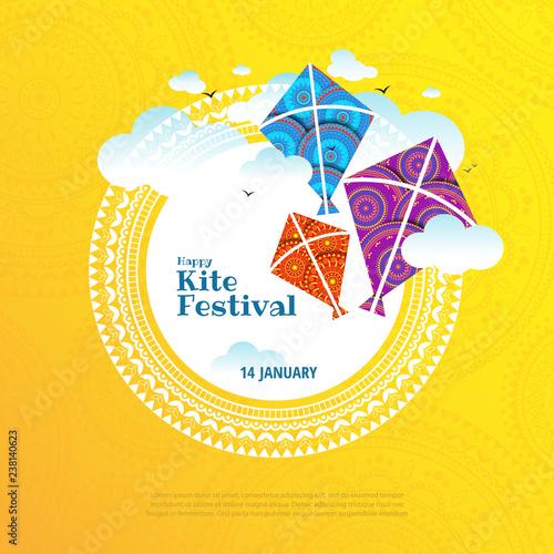 Vector illustration on the theme of kite string festival of India Wallpaper Mural
