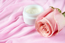 Cream Cosmetic And Roses Petals, Herbal Cosmetic Concept