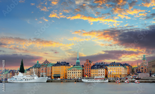 Canvastavla Stockholm, Sweden - panorama of the Old Town, Gamla Stan