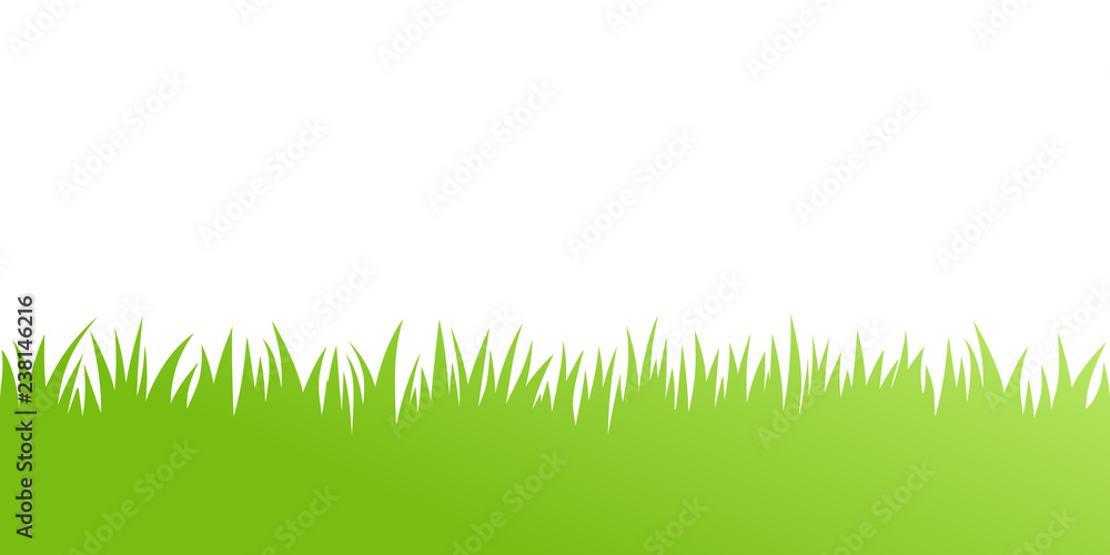 Fototapety, obrazy: Vector green grass: natural, organic, bio, eco label and shape on white background