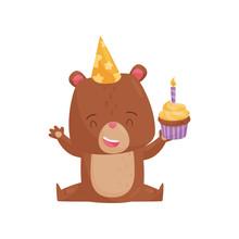 Happy Humanized Bear Sitting O...