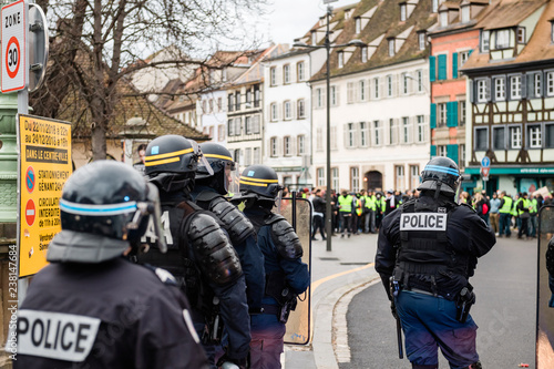 Obraz na plátne Rear view of police officers securing the zone in frong of the Yellow vests move