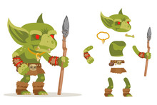 Dungeon Monster Goblin Evil Minion Fantasy Medieval Action RPG Game Character Layered Animation Ready Character Vector Illustration