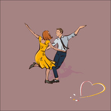 Classic Couple Dancing Swing Or Rock And Roll, Vector Illustration