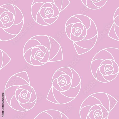 Fotografie, Obraz  white seashells nautilus pompilius spiral on pink background sea ocean shell pat