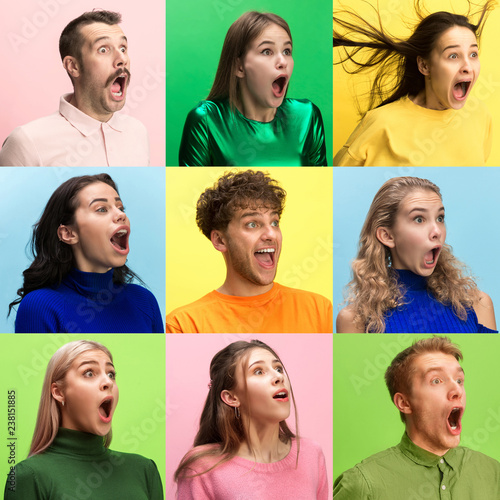 Fototapety, obrazy: The surprised and astonished young woman and man screaming with open mouth isolated on colorful background. concept of shock face human emotion
