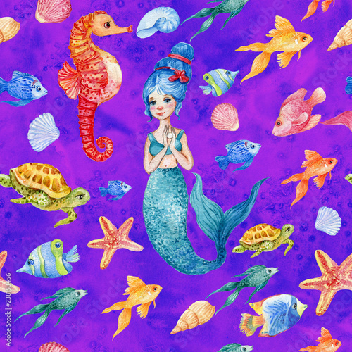 Fairy mermaids .seamless pattern for fabric in nursery