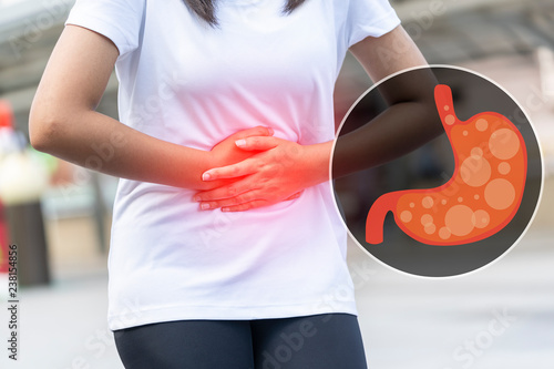 Close up of body woman Suffering from stomach painful or Acid Reflux or Heartburn,Gas,Bloating,Belching and flatulence or gastrointestinal system disease Tapéta, Fotótapéta