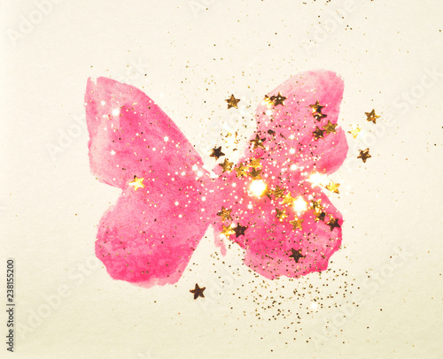 Photo sur Toile Papillons dans Grunge Golden glitter and glittering stars on pink watercolor butterfly in vintage nostalgic colors.