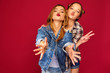 Leinwanddruck Bild - Two young beautiful blond smiling hipster girls posing in trendy summer checkered shirt clothes. Carefree women isolated on red background. Positive models going crazy and hugging
