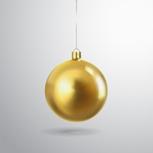 Golden Christmas Ball Isolated On A Transparent Background. Festive Xmas Decoration Gold Bauble And Bright Snowflake, Hanging On The Ribbon. Vector Object For Christmas Design, Mockup