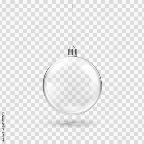Obraz Glass transparent Christmas ball hanging on the ribbon. Realistic Xmas glass bauble on transparent background. Holiday decoration template. Vector illustration - fototapety do salonu