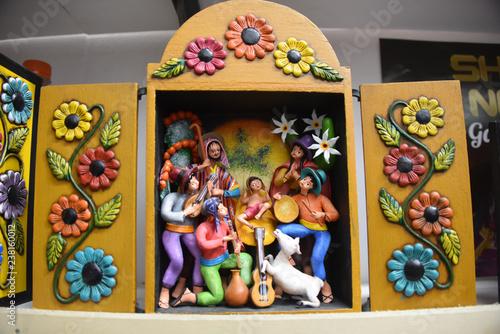 Fényképezés  A traditional 'Retablo', a typical Peruvian handicraft from the Ayacucho region