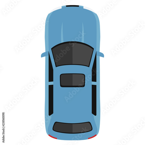 Car From Above Top View Cute Cartoon Car With Shadows Modern
