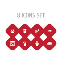 Set Of 8 Farm Icons Set. Colle...