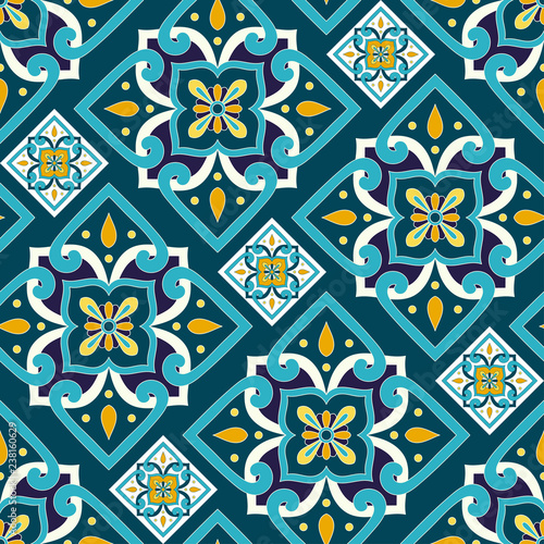 italian-tile-pattern-seamless-vector-with-vintage-motifs-portuguese-azulejos-mexican-talavera