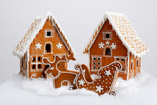 The Hand-made Eatable Gingerbread Houses, Reindeer And Cart With Snow Decoration