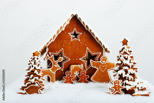 The family and reindeer are near hand-made eatable gingerbread house and New Year Trees with snow decoration