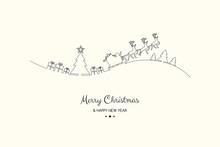 Christmas Greetings With Cartoon  Santa Claus. Vector.