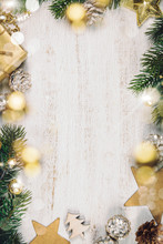 Rustic Wood Background For Christmas With Copy Space