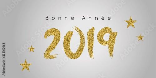 Fotografie, Obraz  2019 Bonne année doré et noir sur fond gris dégradé