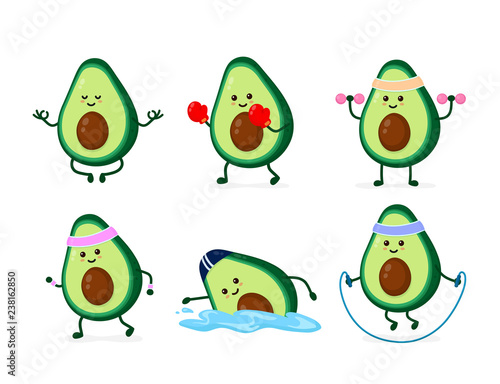 Cute smiling happy strong avocado Fototapete