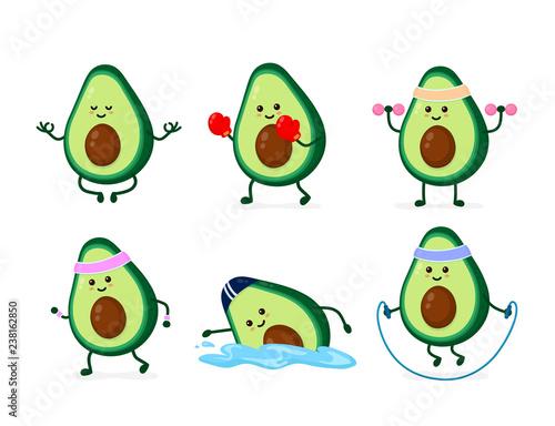 Cute smiling happy strong avocado Wall mural
