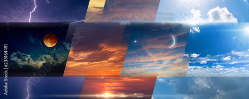 Fotografie, Obraz  Weather forecast background, collage of skies photos with variety weather condit