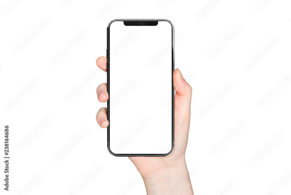 Fototapeta Woman hand holding modern smatphone mockup on white