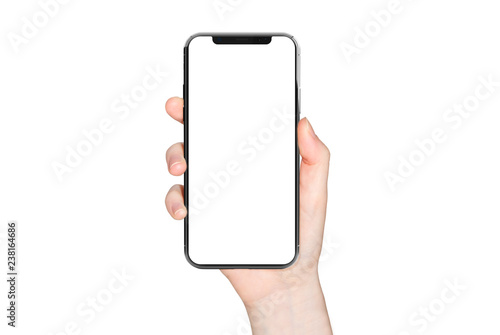 Photo  Woman hand holding modern smatphone mockup on white