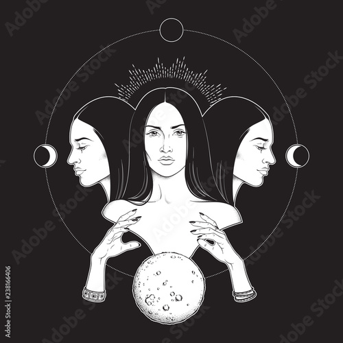Canvas Print Triple lunar Goddess Hecate ancient Greek mythology hand drawn black and white isolated vector illustration