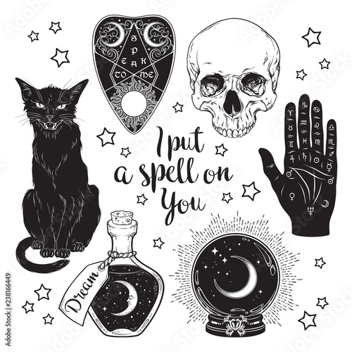 Poster Halloween Magic set - planchette, skull, palmistry hand, crystal ball, bottle and black cat hand drawn art isolated. Ink style boho chic sticker, patch, flash tattoo or print design vector illustration.