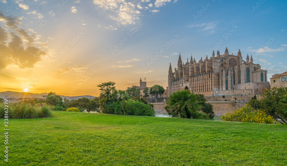 Fototapety, obrazy: Landscape with Cathedral La Seu at sunset time in Palma de Mallorca islands, Spain
