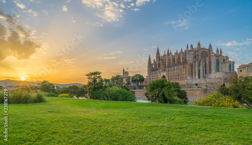Foto op Plexiglas Oude gebouw Landscape with Cathedral La Seu at sunset time in Palma de Mallorca islands, Spain