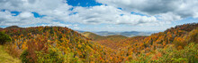Blue Ridge Mountains In Late Autumn Color Panorama Landscape On The Blue Ridge Parkway In North Carolina