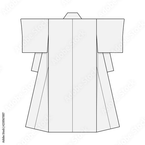 Stampa su Tela Japanese kimono template illustration (white)