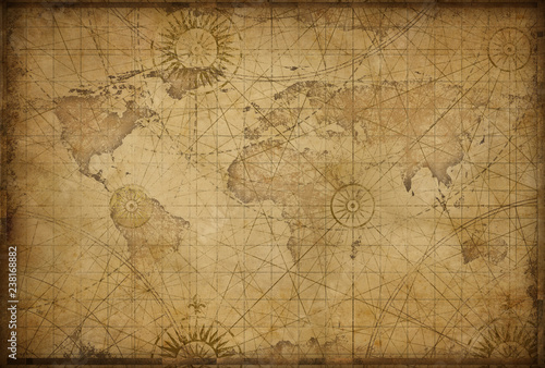 Foto auf Leinwand Weltkarte retro styled world map