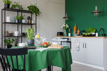 Trendy Kitchen With Dining Tab...