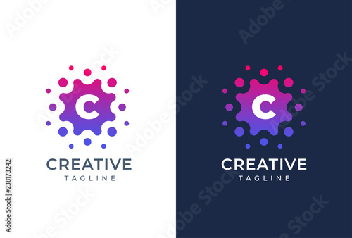 Fotomural  Smart and creative, dots or points letter C logo design template