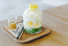 Lod Chong, Thai Melon, Puffed Rice With Coconut Snow Ice Topping With Sliced Jackfruit. Served With Caramel.
