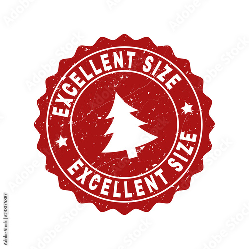 Fotografía  Grunge round Excellent Size stamp seal with fir-tree
