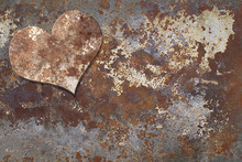Heart On Rusty Metal. Creative...