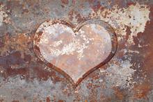 Heart On Rusty Metal. Creative...